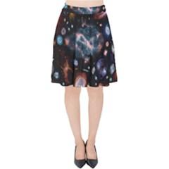 Galaxy Nebula Velvet High Waist Skirt