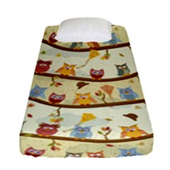 Autumn Owls Pattern Fitted Sheet (single Size) by Celenk