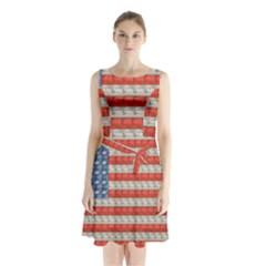Geometricus Usa Flag Sleeveless Waist Tie Chiffon Dress