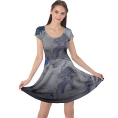 A Sky View Of Earth Cap Sleeve Dress