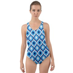 Blue Leaves Eyes Cut Out Back One Piece Swimsuit