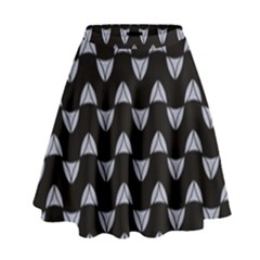 Wave Pattern Black Grey High Waist Skirt by Cveti