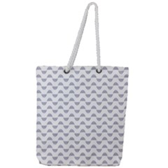 Wave Pattern White Grey Full Print Rope Handle Tote (large)