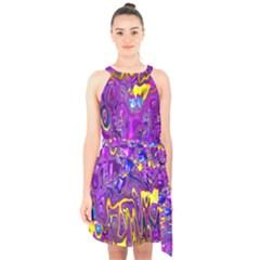 Melted Fractal 1a Halter Collar Waist Tie Chiffon Dress