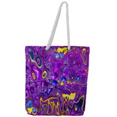 Melted Fractal 1a Full Print Rope Handle Tote (large)