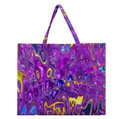 Melted Fractal 1a Zipper Large Tote Bag by MoreColorsinLife