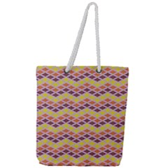 Wave Pattern 3 Full Print Rope Handle Tote (large)