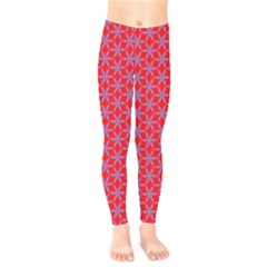 Flower Of Life Pattern Red Purle Kids  Legging