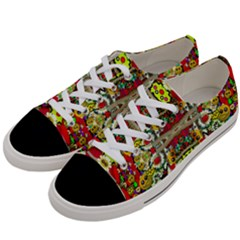 Chicken Monkeys Smile In The Floral Nature Looking Hot Women s Low Top Canvas Sneakers by pepitasart