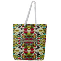 Chicken Monkeys Smile In The Floral Nature Looking Hot Full Print Rope Handle Tote (large) by pepitasart