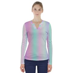 Pattern V Neck Long Sleeve Top by gasi