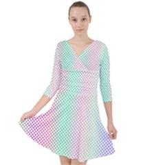 Pattern Quarter Sleeve Front Wrap Dress