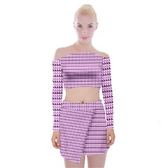 Pattern Off Shoulder Top With Mini Skirt Set by gasi