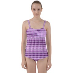 Pattern Twist Front Tankini Set by gasi
