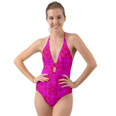 Pattern Halter Cut Out One Piece Swimsuit by gasi