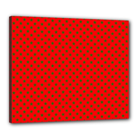 Green Christmas Stars On Festive Red Canvas 24  X 20  (stretched) by Beachlux