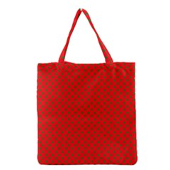 Green Christmas Stars On Festive Red Grocery Tote Bag by Beachlux