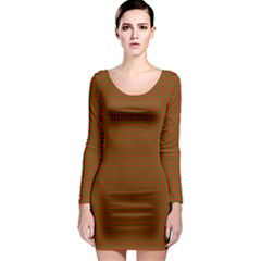 Classic Christmas Red And Green Houndstooth Check Pattern Long Sleeve Bodycon Dress