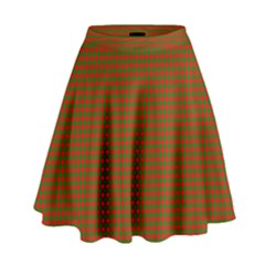 Classic Christmas Red And Green Houndstooth Check Pattern High Waist Skirt by PodArtist