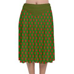 Large Red Christmas Hearts On Green Velvet Flared Midi Skirt by PodArtist