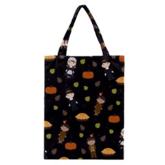 Pilgrims And Indians Pattern   Thanksgiving Classic Tote Bag by Valentinaart