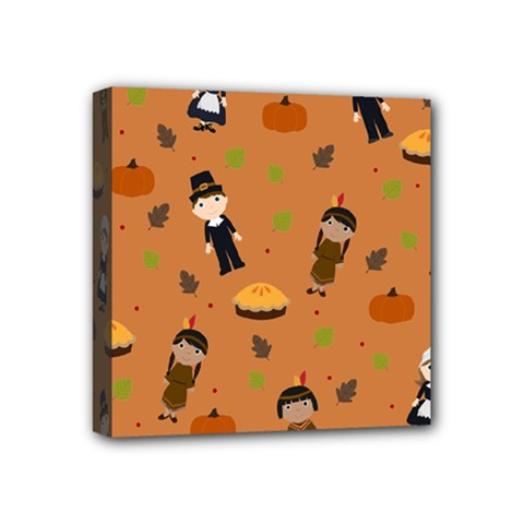 Pilgrims And Indians Pattern   Thanksgiving Mini Canvas 4  X 4  by Valentinaart