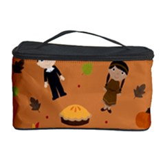 Pilgrims And Indians Pattern   Thanksgiving Cosmetic Storage Case by Valentinaart