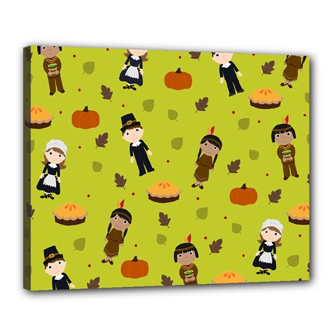 Pilgrims And Indians Pattern   Thanksgiving Canvas 20  X 16  by Valentinaart