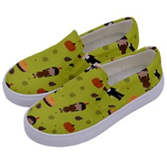 Pilgrims And Indians Pattern   Thanksgiving Kids  Canvas Slip Ons by Valentinaart