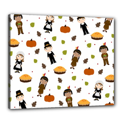 Pilgrims And Indians Pattern   Thanksgiving Canvas 24  X 20  by Valentinaart