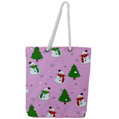 Snowman Pattern Full Print Rope Handle Tote (large)