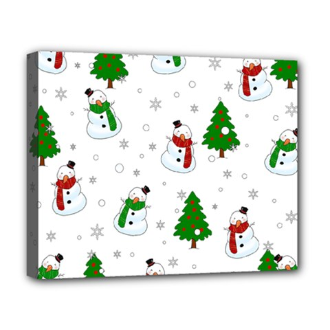 Snowman Pattern Deluxe Canvas 20  X 16   by Valentinaart