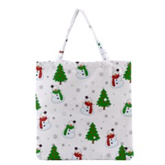 Snowman Pattern Grocery Tote Bag by Valentinaart