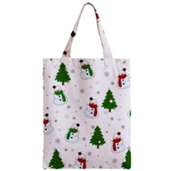 Snowman Pattern Zipper Classic Tote Bag by Valentinaart