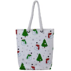 Snowman Pattern Full Print Rope Handle Bag (small) by Valentinaart