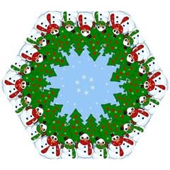 Kawaii Snowman Mini Folding Umbrellas by Valentinaart