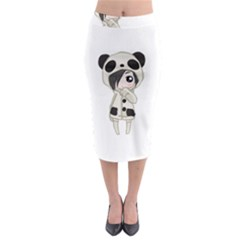 Kawaii Panda Girl Midi Pencil Skirt