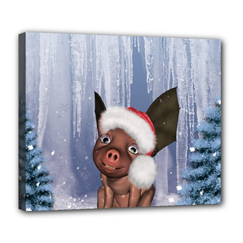 Christmas, Cute Little Piglet With Christmas Hat Deluxe Canvas 24  X 20   by FantasyWorld7