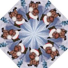 Christmas, Cute Little Piglet With Christmas Hat Hook Handle Umbrellas (large) by FantasyWorld7