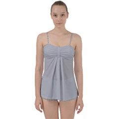 Grey And White Simulated Carbon Fiber Babydoll Tankini Set