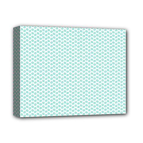 Tiffany Aqua Blue Lipstick Kisses On White Deluxe Canvas 14  X 11  by PodArtist