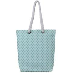 Tiffany Aqua Blue Lipstick Kisses On White Full Print Rope Handle Bag (small)