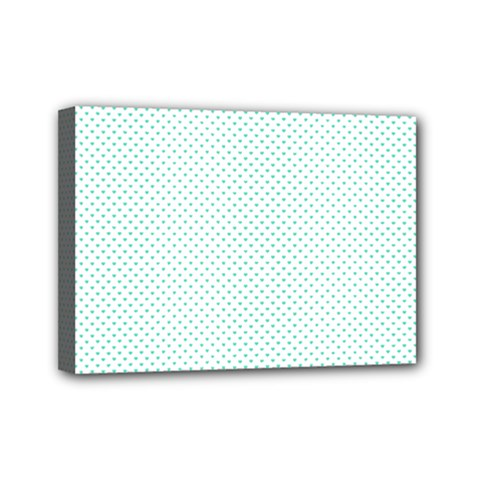 Tiffany Aqua Blue Candy Polkadot Hearts On White Mini Canvas 7  X 5  by PodArtist