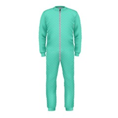 White Polkadot Hearts On Tiffany Aqua Blue  Onepiece Jumpsuit (kids)