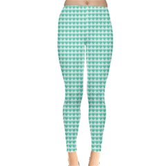 Tiffany Aqua Blue Candy Hearts On White Leggings  by PodArtist
