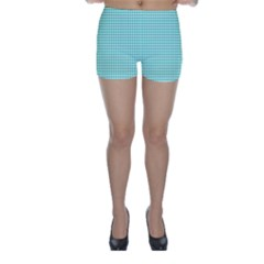 Tiffany Aqua Blue Candy Hearts On White Skinny Shorts by PodArtist