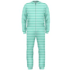 Tiffany Aqua Blue Candy Hearts On White Onepiece Jumpsuit (men)  by PodArtist
