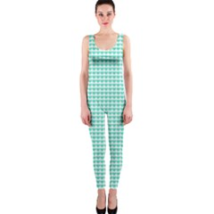 Tiffany Aqua Blue Candy Hearts On White Onepiece Catsuit by PodArtist