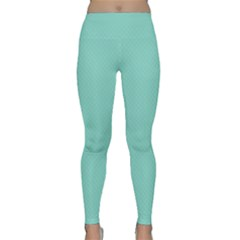 Tiffany Aqua Blue Puffy Quilted Pattern Classic Yoga Leggings by PodArtist