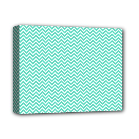 Tiffany Aqua Blue Chevron Zig Zag Deluxe Canvas 14  X 11  by PodArtist